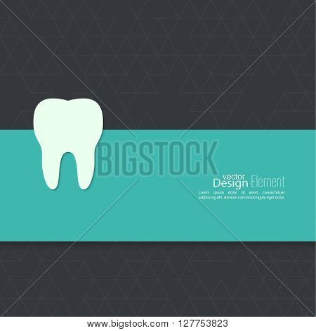 Background with tooth. Symbol for dental clinic. blue, green.