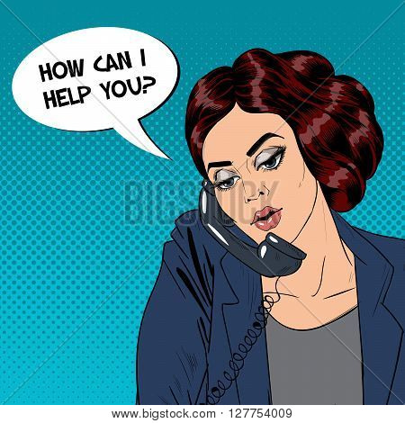 Woman Speaking on the Phone. Businesswoman at Office Pop Art Vector illustration