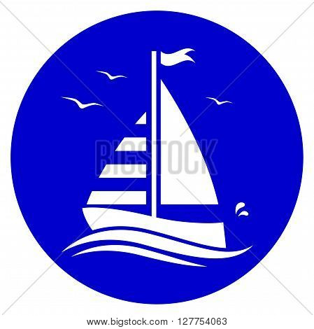 vector floating sailboat isolated on blue round
