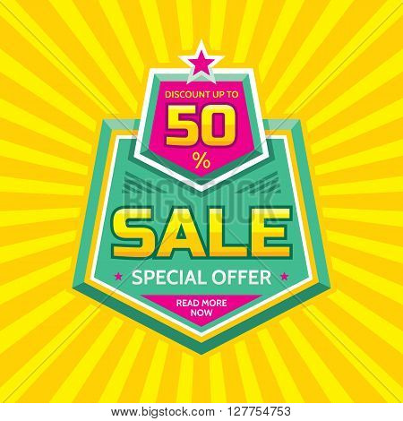 Sale vector banner - discount up to 50%. Special offer concept layout. Read more now. Sale creative badge design. Sale discount layout sticker.