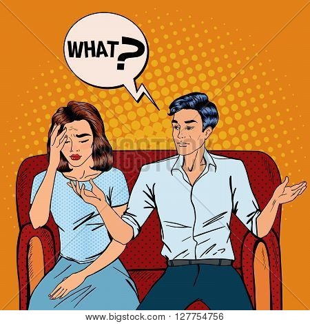 Dispute Between Man and Woman. Home Quarrel Pop Art Vector illustration