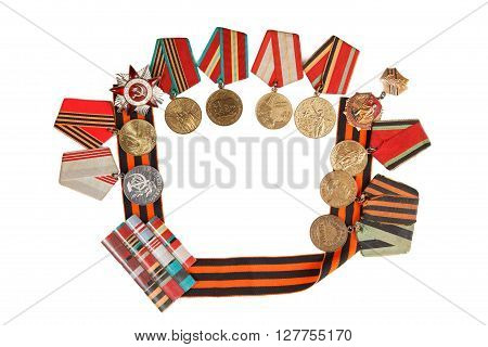 Symbols Of Victory Medal And St. George's Ribbon Isolated On A White Background.  Illustrative Edito