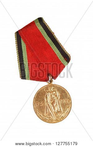 Jubilee Medal 20 Of Victory In The Great Patriotic War Of 1941-1945. Isolated On White.  Illustrativ