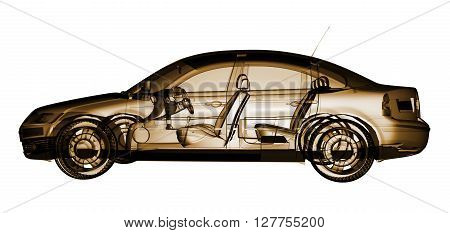 Tech xray car design poster computer render 3D Rendering