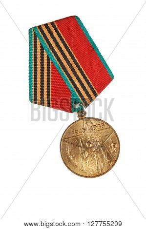 Jubilee Medal 40 Of Victory In The Great Patriotic War Of 1941-1945. Isolated On White.  Illustrativ