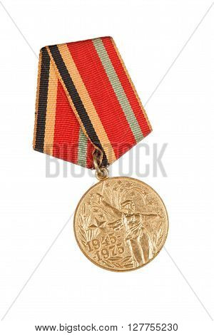 Jubilee Medal Thirty Years Of Victory In The Great Patriotic War Of 1941-1945. Isolated On White.  I