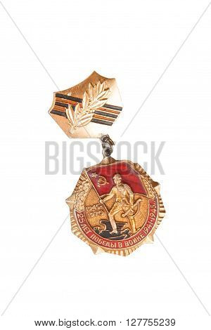 Jubilee Medal 25 Of Victory In The Great Patriotic War Of 1941-1945. Isolated On White.  Illustrativ