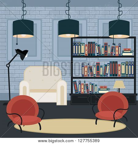 Modern Interior Living Room in Grunge Style with Furniture. Vector illustration