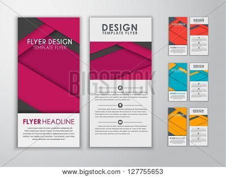 Set Of Colored Flyers Material Design