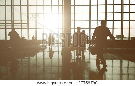 Business Travelers Airport Passenger Concept