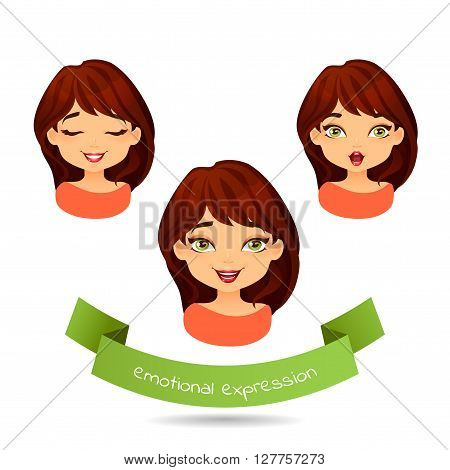 Cute green-eyed brunette with different facial expressions. Set of different emotion: smile laugh surprise. Cartoon girl with different expressions of emotion. Vector illustration isolate on white.