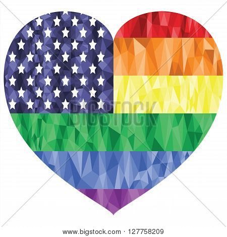 American Flag on the Rainbow Background with low poly art effect in the heart shape representing gay people love, rights, equality,   pride , gay marriage