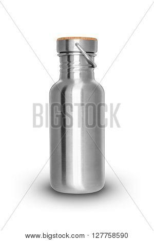 Shiny metal bottle isolated on white background