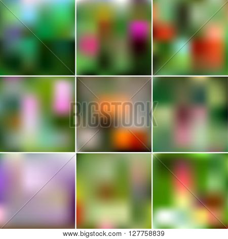 Set Of Abstract Creative Concept Vector Multicolored Blurred Background. For Web And Mobile Applicat