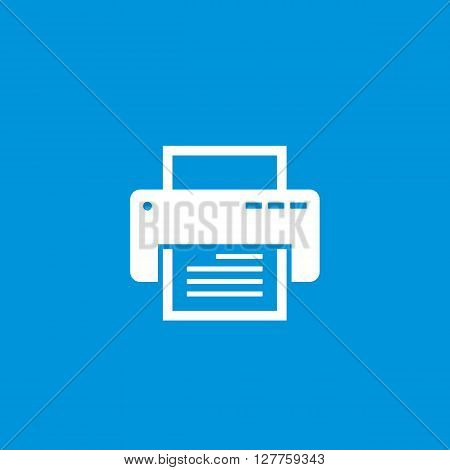 Printer vector icon for website, smartphone mobile application and other business projects. White silhouette of printer on blue background. Printer vector sign in classic graphic design style.