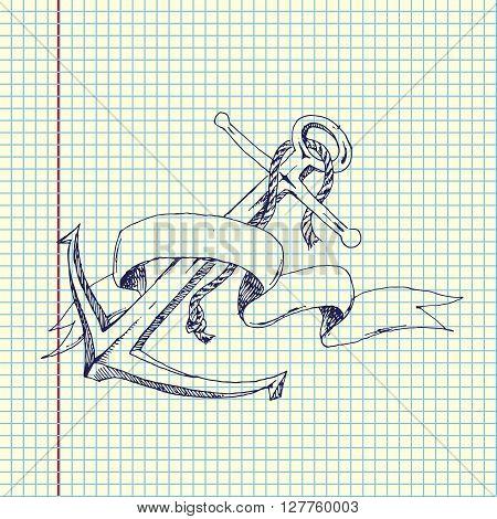 Hand Drawn Anchor with ribbon. Vector stock illustration