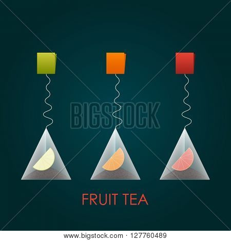 Isolated pyramid of black tea with fruits. Vector illustration. Background.