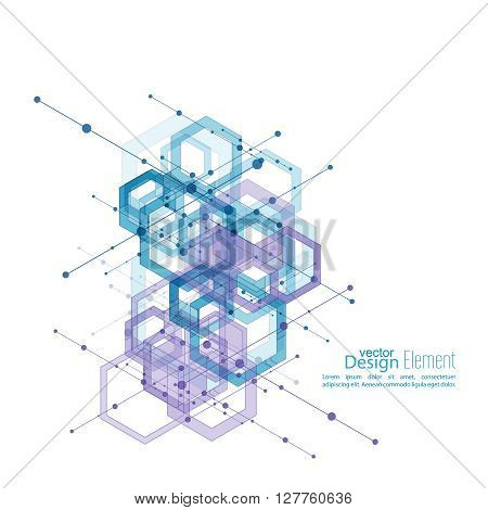 Abstract Background with transparent cubes, hexagons carcass. Techno design of future, minimalism. technology, science and research. cyberspace cells.