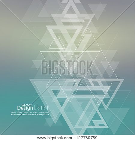 Abstract blurred background with hipster stream flying triangles debris. Pattern. For cover book, brochure, flyer, poster, layout, template, magazine, t-shirt. Vector design. subtle. color, green