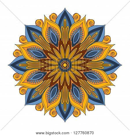 Vector Beautiful Deco Colored contour Mandala Patterned Design Element Ethnic Amulet