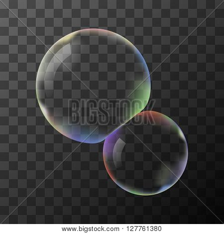 Two transparent vector soap bubbles without background
