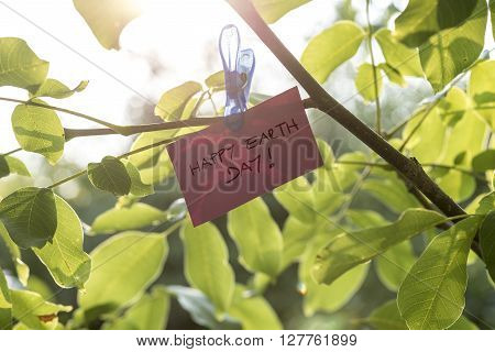 Pale pink coloured piece of paper holding a sign Happy Earth day attached to a twig of fresh green leaves with a clothes peg.