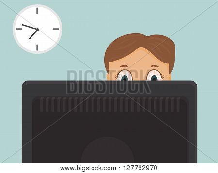 Businessman with red eyes, hard working overtime at the office. Vector cartoon illustration.