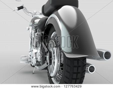 Custom isolated motorcycle on light background. 3D Illustration.