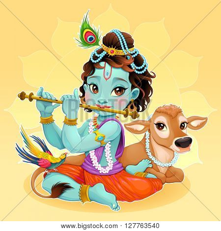 Baby Krishna with sacred cow. Vector cartoon illustration of hindu god.
