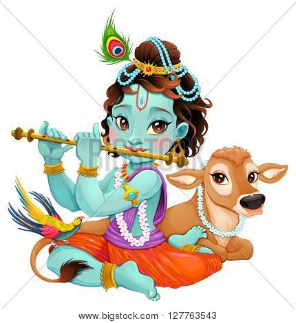 Baby Krishna with sacred cow. Vector cartoon illustration of hindu god, isolated characters