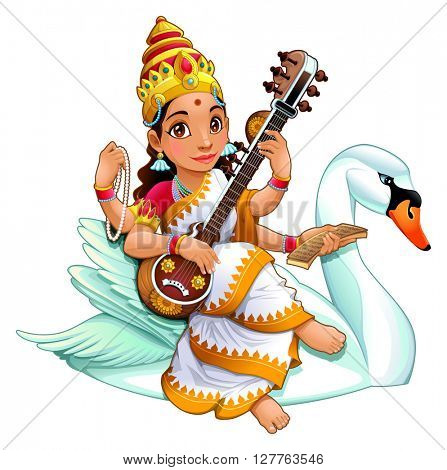 Sarasvati, Hindu goddess of knowledge, music, arts, wisdom and learning. Vector cartoon isolated character.