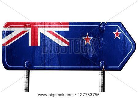 New zeeland flag, 3D rendering, vintage road sign isolation