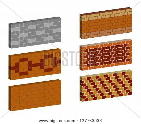 Set brick texture different color and pattern. Brickwork in 1 row. Vector illustration. Horizontal location.