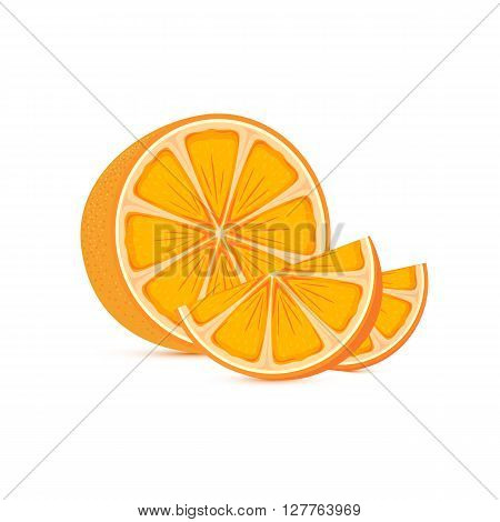 Fresh ripe orange and slices isolated on white background, illustration.