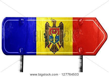 Moldova flag, 3D rendering, vintage road sign isolation