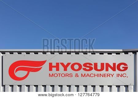 Villefranche, France - March 27, 2016: Founded in 1978 as a division of the Hyosung Group of industries, Hyosung began producing Japanese Suzuki motorcycle designs under license for the South Korean market in, South Korea