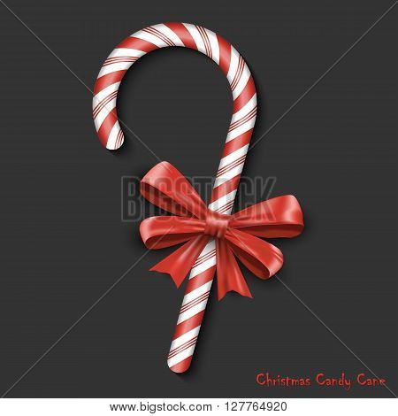 Merry Christmas Greetings in Realistic 3D Red Candy Cane on Black Background. Vector Celebrations Illustration EPS10