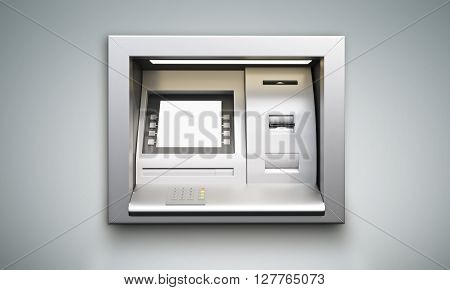 Built-in ATM machine with blank display on grey background. Mock up 3D Rendering