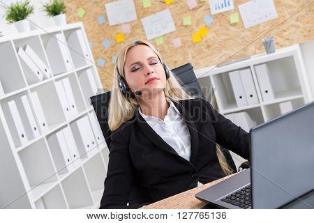 Call Center Operator Closed Eyes