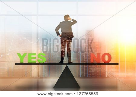 Decision making concept with businessman standing on balancing scales with business chart and blurry Singapore in the background