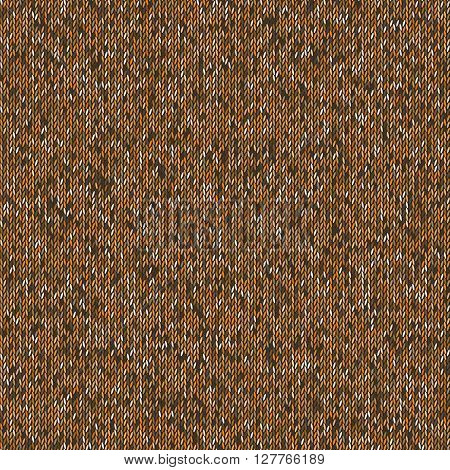 Seamless brown knitting pattern. Woolen cloth knitted background. Vector illustration EPS10