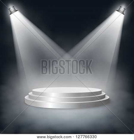 Pedestal with steps lit two lights in the fog. Vector EPS10