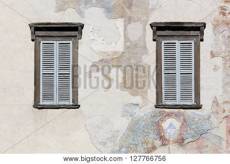 Facade in the upper city and old town in Bergamo, Italy