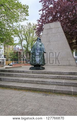 Hague, Netherlands - May 8: It is a modern monument to Queen of the Netherlands Wilhemina reigning from 1890 to 1948 May 8, 2013 in Hague, Netherlands.