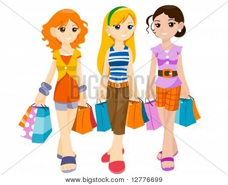Teenagers Shopping - Vector
