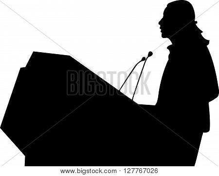 Business/ political speaker black color silhouette vector