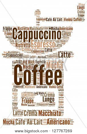 Varities of coffee word cloud concept illustration