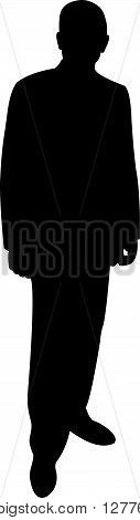 a standing man black color silhouette vector