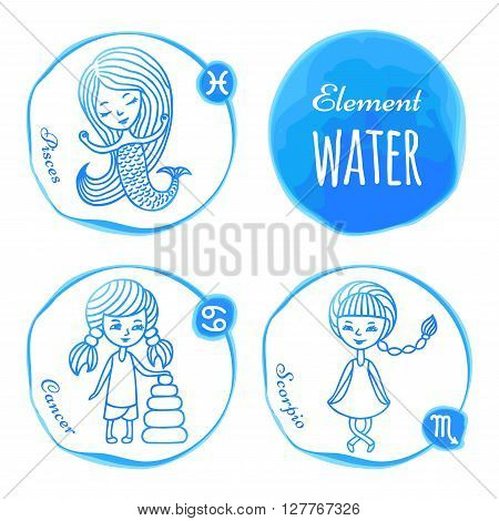 Vector horoscope drawn by hand. Set of 3 zodiac signs of elements of water: fish, cancer and Scorpio. Little girls drawn with a blue outline. Imitation of watercolor.