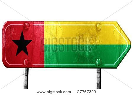 Guinea bissau flag, 3D rendering, vintage road sign isolation